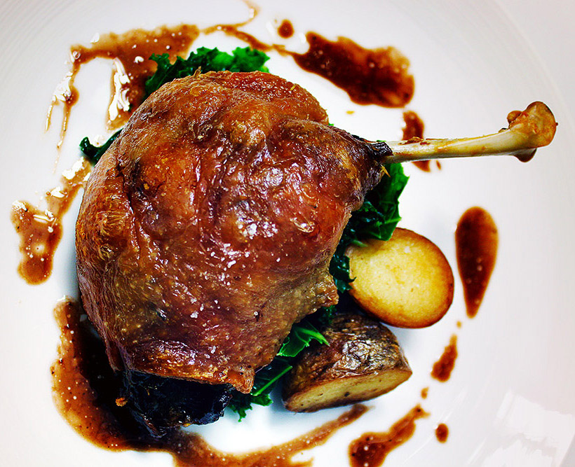 Honey-roast confit of duck